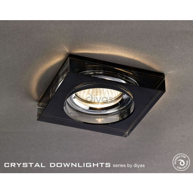Diyas Square Crystal Downlight Black (Rim Only) Large