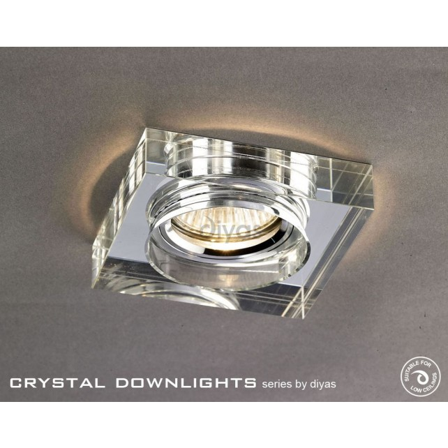 Diyas Square Crystal Downlight Chrome (Rim Only) Large