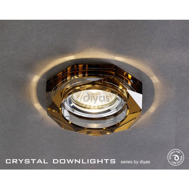 Diyas Hexagon Crystal Downlight Bronze (Rim Only)
