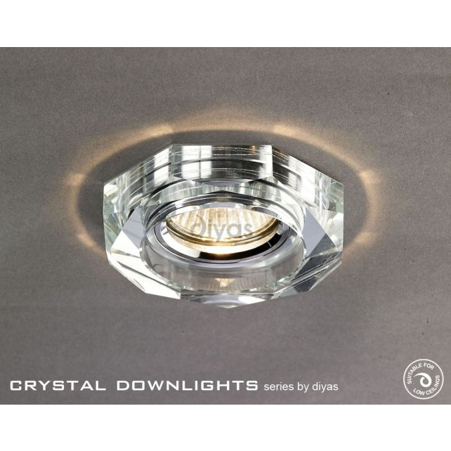 Diyas Hexagon Crystal Downlight Chrome (Rim Only)