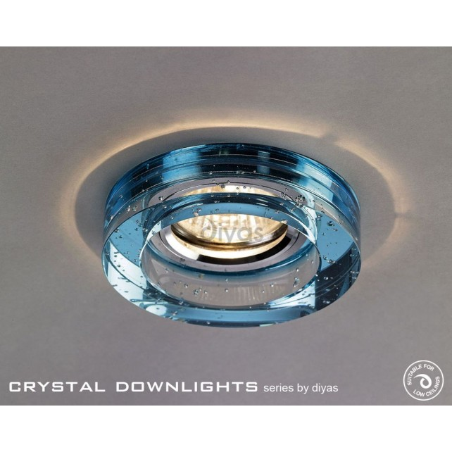 Diyas Round Bubble Crystal Downlight Aqua (Rim Only)