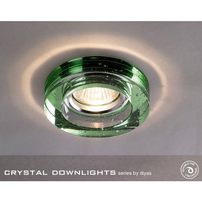 Diyas Round Bubble Crystal Downlight Green (Rim Only)