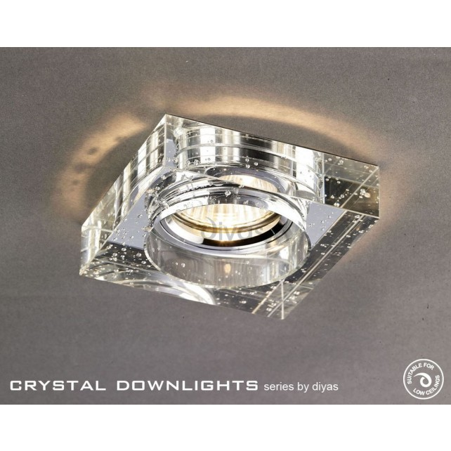 Diyas Square Bubble Crystal Downlight Chrome (Rim Only)