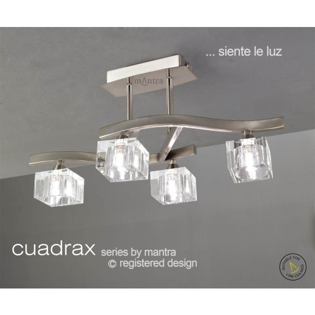 Cuadrax Semi Ceiling 4 Light Polished Chrome