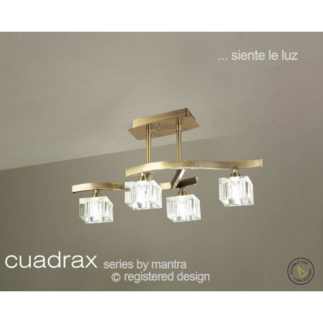 Cuadrax Semi Ceiling 4 Light Antique Brass
