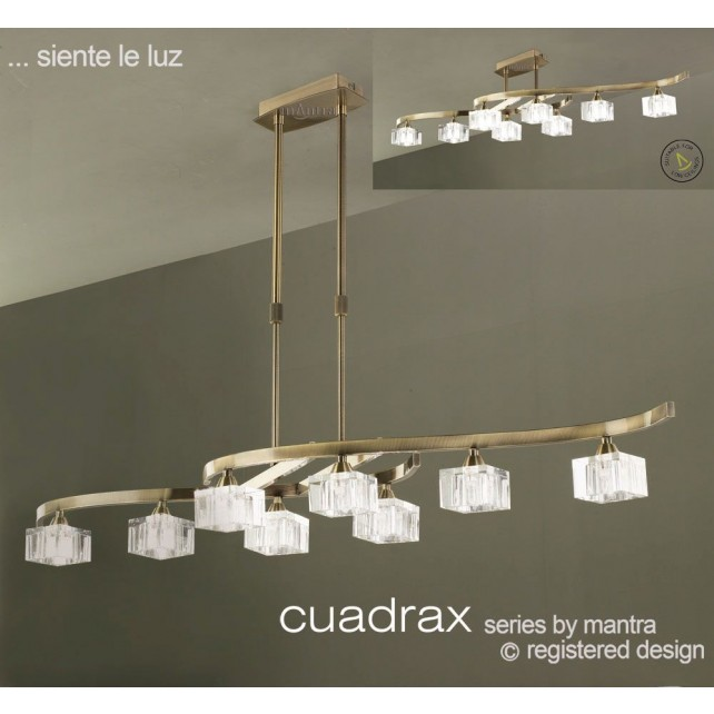 Cuadrax Telescopic Pendant 8 Light Antique Brass. Convertible To Semi Flush (Short Rod Included).