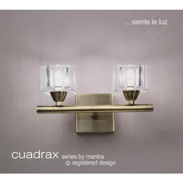 Cuadrax Wall Lamp 2 Light Antique Brass