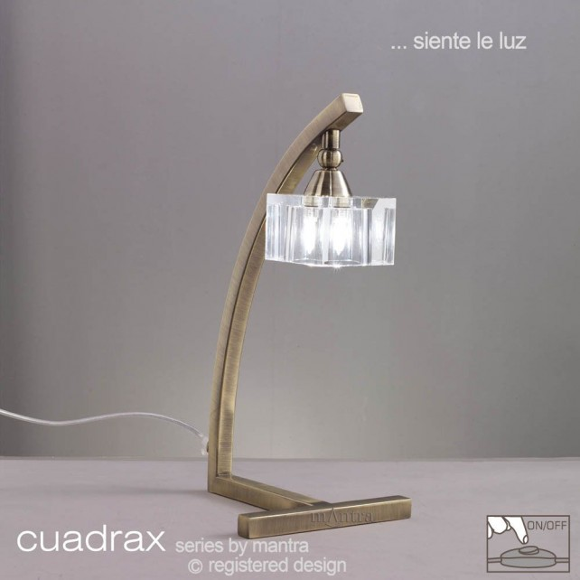 Cuadrax Table Lamp 1 Light Antique Brass