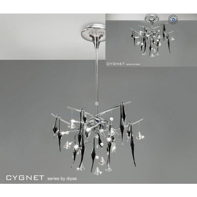 Diyas Cygnet Ceiling 10 Light Polished Chrome/Black/Crystal
