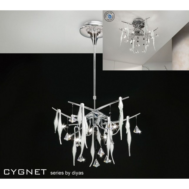 Diyas Cygnet Ceiling 10 Light Polished Chrome/White/Crystal