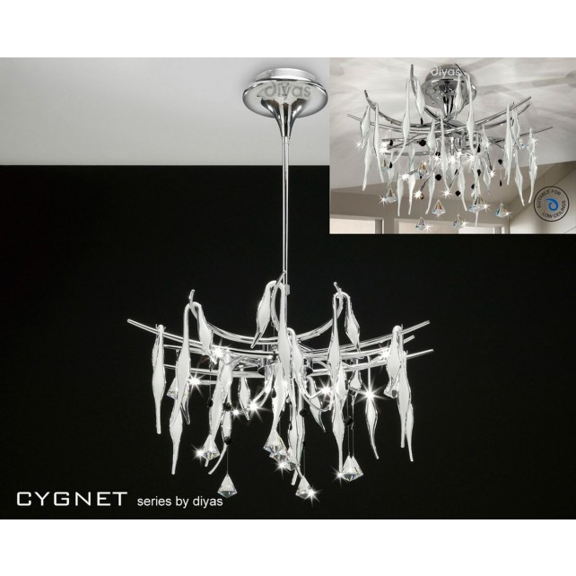 Diyas Cygnet Pendant 11 Light Polished Chrome/White/Crystal