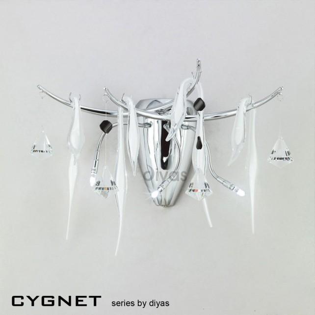 Diyas Cygnet Wall Lamp 3 Light Polished Chrome/White