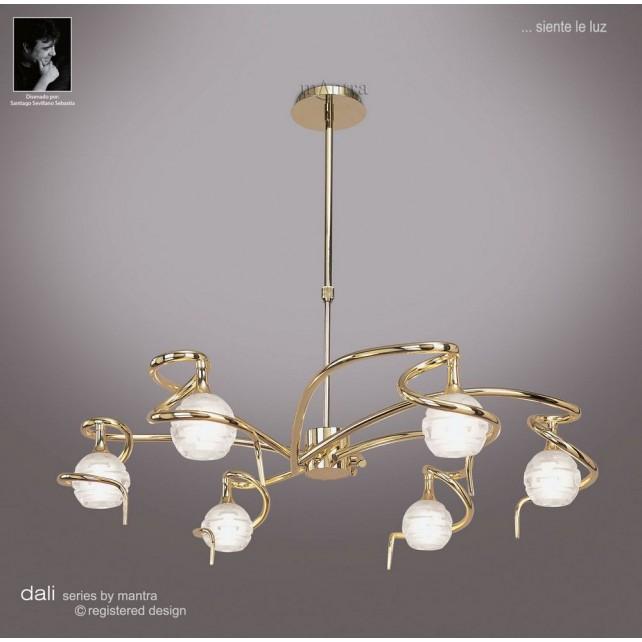 Dali Telescopic Pendant Round 6 Lights Polished Brass