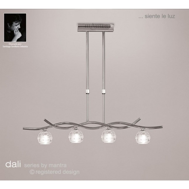 Dali Telescopic Pendant Line 4 Lights Polished Chrome