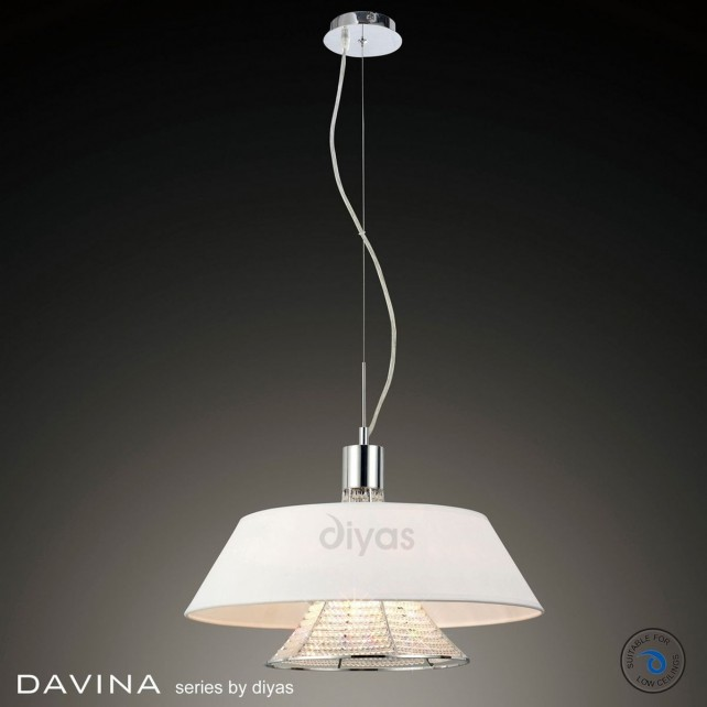 Diyas Davina Pendant 3 Light Polished Chrome/Crystal With White Shade