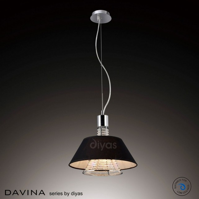 Diyas Davina Pendant 2 Light Polished Chrome/Crystal With Black Shade