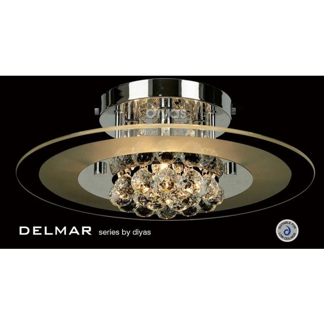 Diyas Delmar Flush Round 4 Light Polished Chrome/Crystal