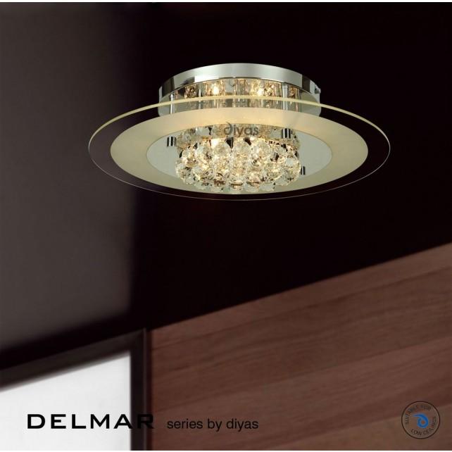 Diyas Delmar Flush Round 6 Light Polished Chrome/Crystal