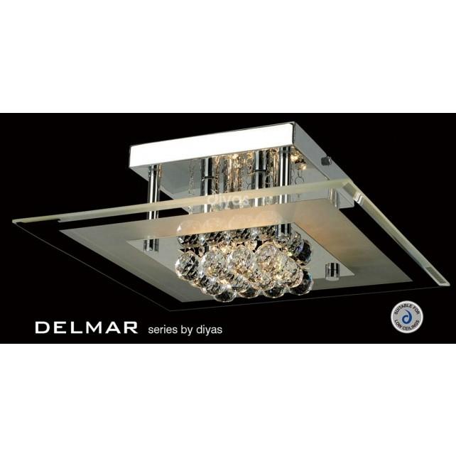 Diyas Delmar Flush Square 4 Light Polished Chrome/Crystal