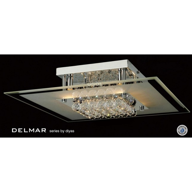 Diyas Delmar Flush Square 6 Light Polished Chrome/Crystal