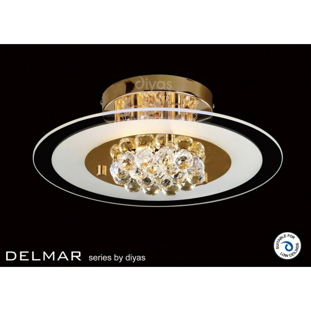 Diyas Delmar Flush Round 4 Light Gold Finish/Crystal
