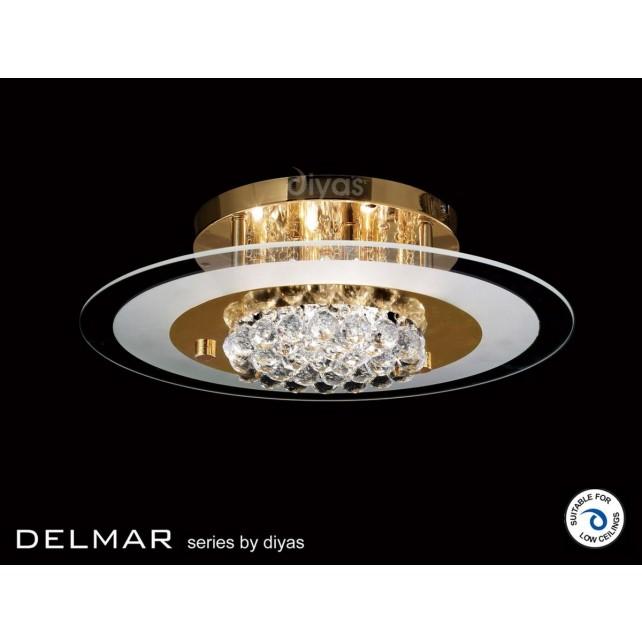 Diyas Delmar Flush Round 6 Light Gold Finish/Crystal