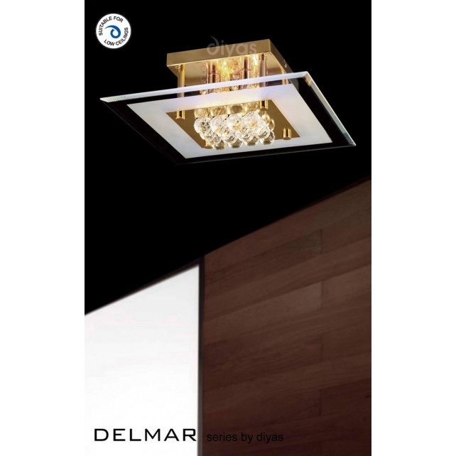 Diyas Delmar Flush Square 4 Light Gold Finish/Crystal