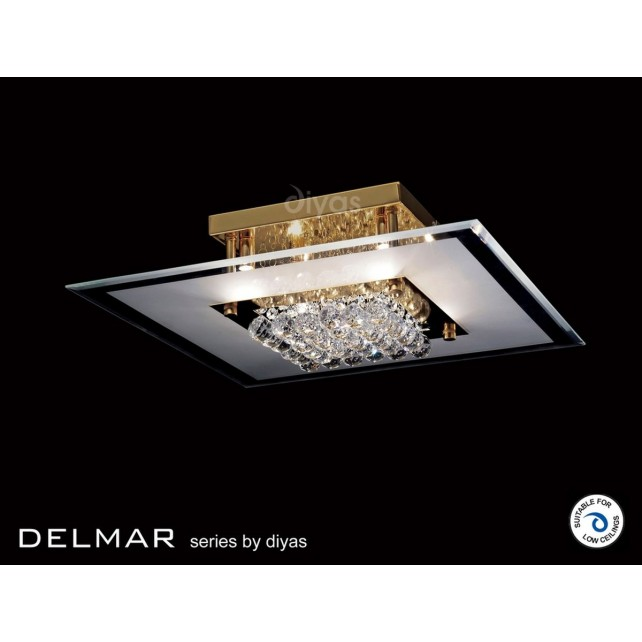 Diyas Delmar Flush Square 6 Light Gold Finish/Crystal