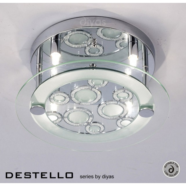 Diyas Destello Ceiling 4 Light Round Polished Chrome/Crystal