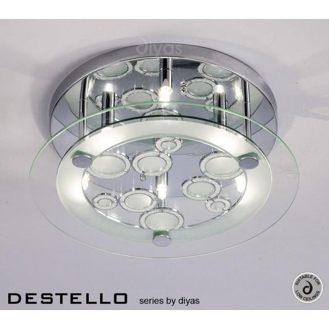 Diyas Destello Ceiling 6 Light Round Polished Chrome/Crystal
