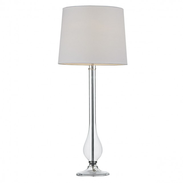Dillon Table Lamp Clear Glass complete with White Shade