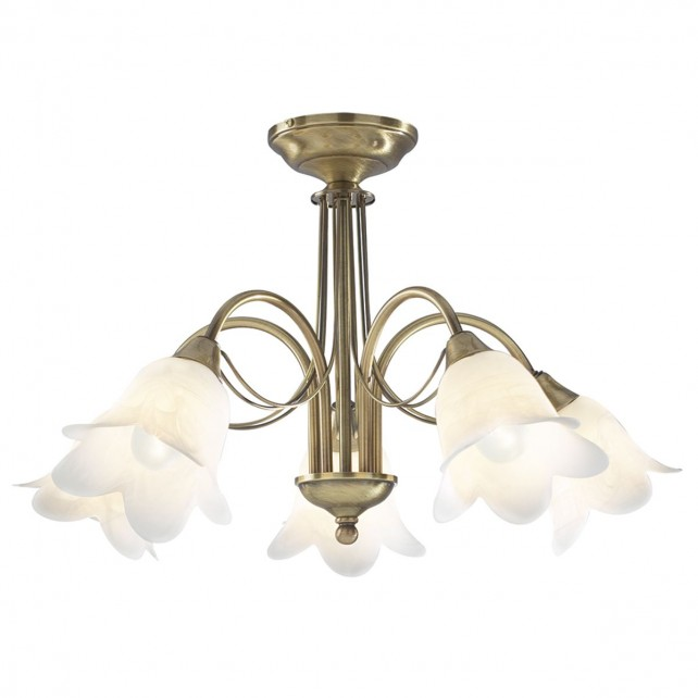 Doublet Ceiling Light - 5 Light Antique Brass