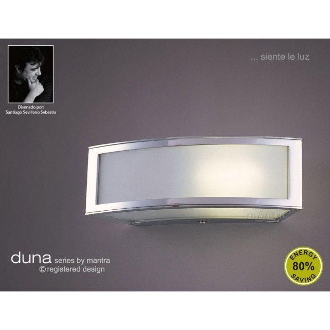 Duna Wall Lamp 1 Light Polished Chrome. (E27 Lamp holder version).