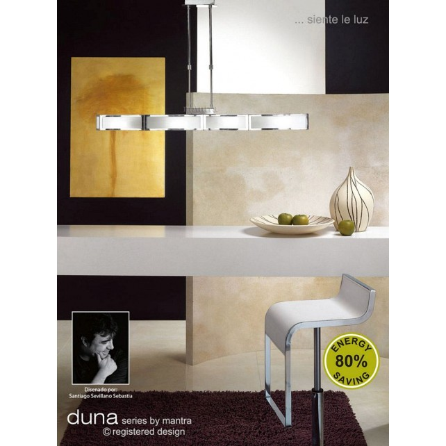 Duna Pendant 4 Light Polished Chrome. (E27 Lamp holder version).
