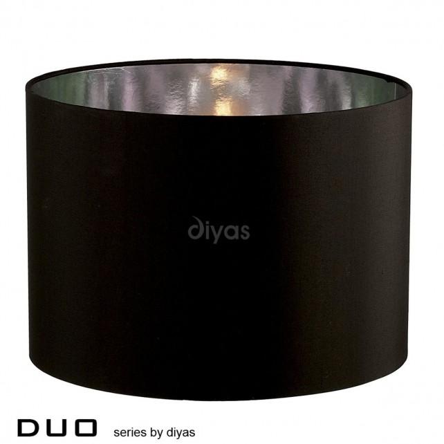 Diyas Duo Large Round Shade 1 Light Black/Chrome