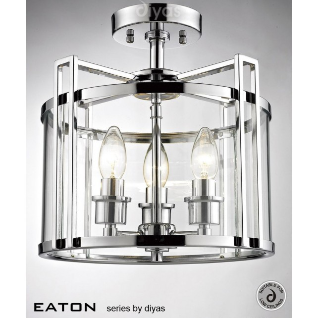 Diyas Eaton Semi Flush 3 Light Polished Chrome