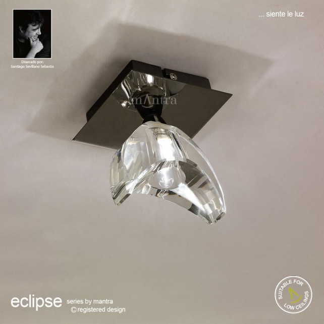 Eclipse Ceiling 1 Light Black Chrome