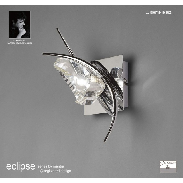 Eclipse Wall Lamp 1 Light Polished Chrome Switched