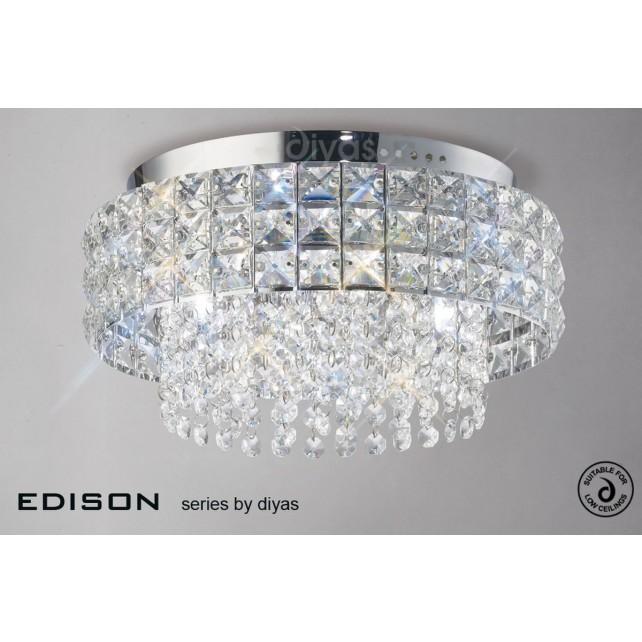 Diyas Edison Ceiling Round 4 Light Polished Chrome/Crystal
