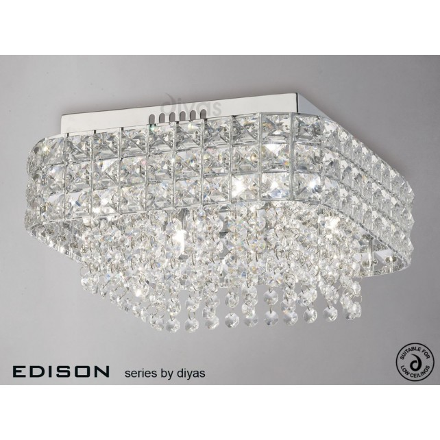 Diyas Edison Ceiling Square 4 Light Polished Chrome/Crystal