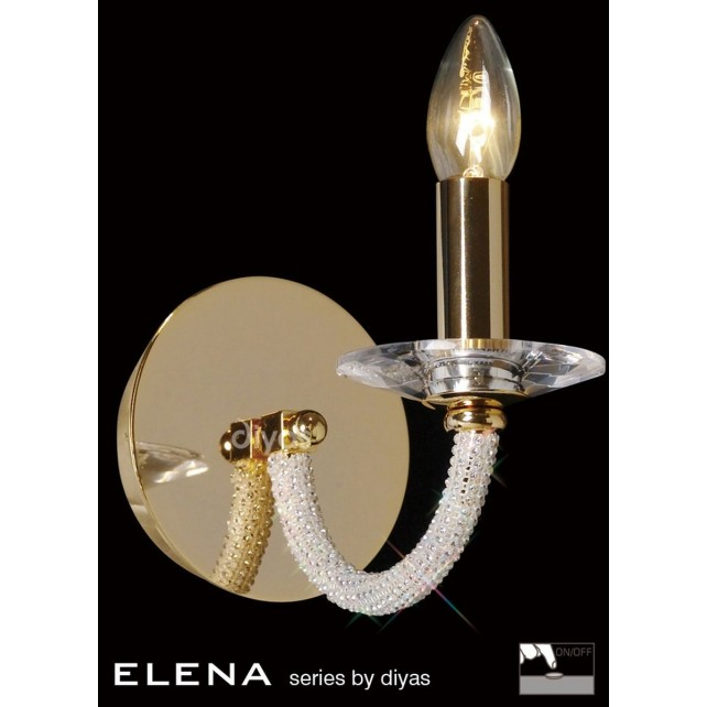 Diyas Elena Wall Lamp 1 Light Gold Plate
