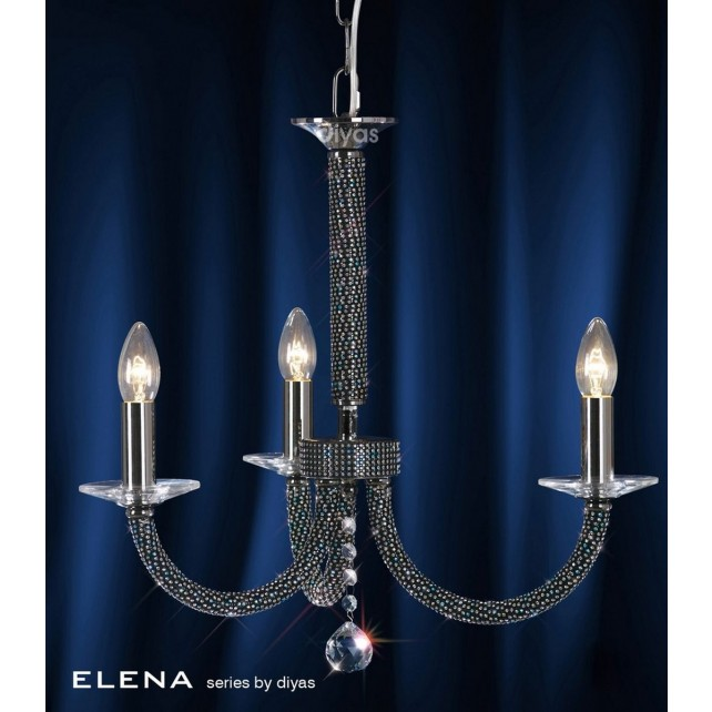 Diyas Elena Pendant 3 Light Black Chrome