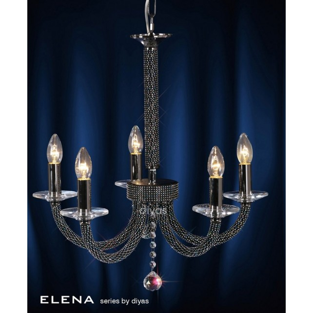 Diyas Elena Pendant 5 Light Black Chrome