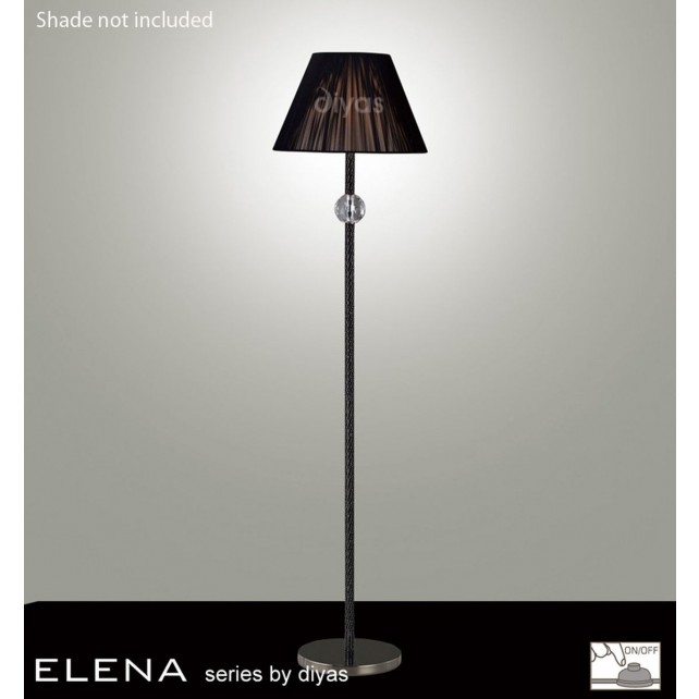 Diyas Elena Floor Lamp 1 Light Black Chrome/Crystal