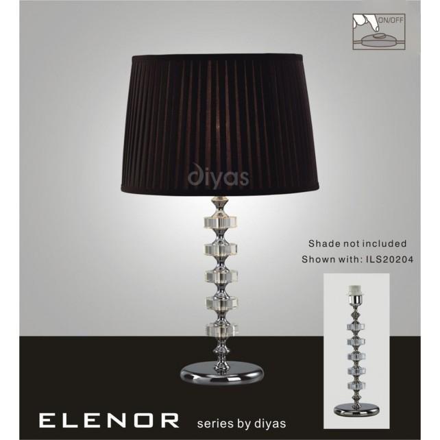 Diyas Elenor Table Lamp 1 Light Polished Chrome/Crystal