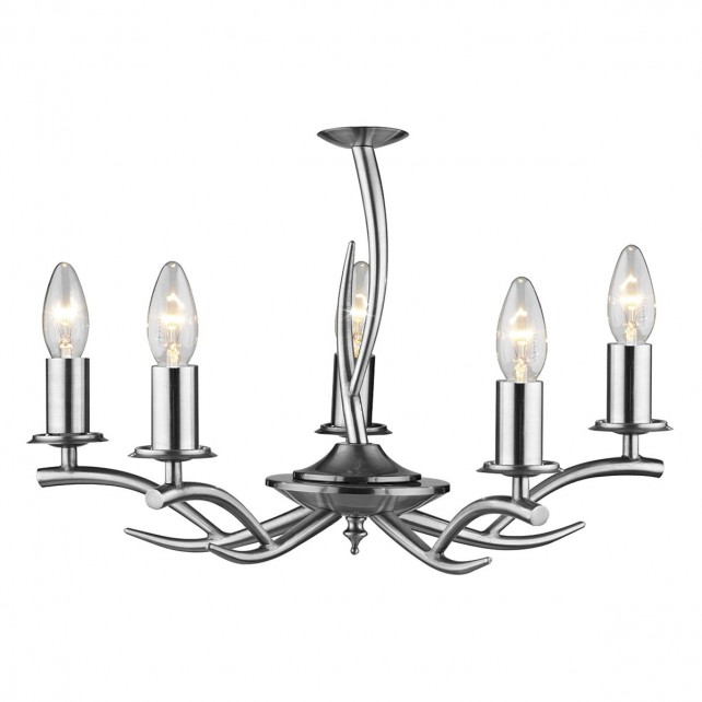 Elka Ceiling Light - 5 Light Satin Chrome