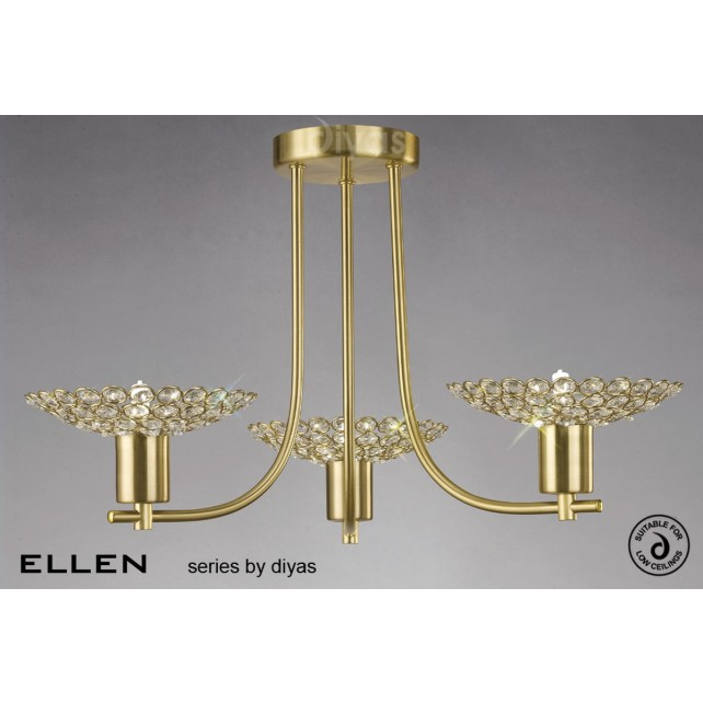Diyas Ellen 3 Light Pendant Satin Brass/Crystal