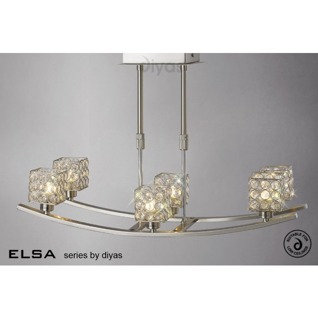 Diyas Elsa 6 Light Telescopic Pendant Satin Nickel/Crystal