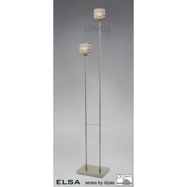 Diyas Elsa 2 Light Floor Lamp Satin Nickel/Crystal