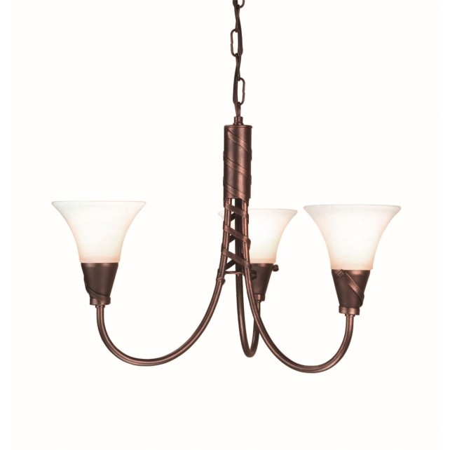 Elstead EM3 COPPER Emily 3 - Light Chandelier Copper